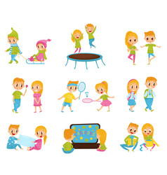 flat set with cute little boy and girl in vector image