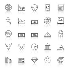 Forex line icons with reflect on white background vector