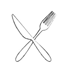 Fork and knife cutlery isolated icon vector