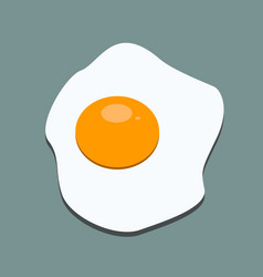 fried egg icon with flat color style isolated with vector image