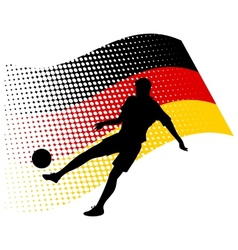 Germany soccer player against national flag vector