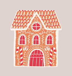 gingerbread house isolated on light background vector image