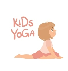 Girl In Yoga Pose With Kids vector