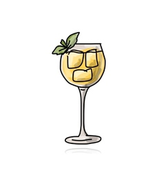 Glass with cocktail sketch for your design vector image