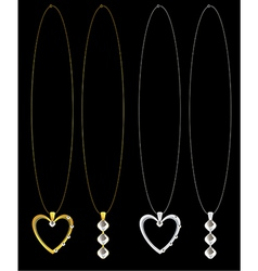 Gold and silver heart and diamond necklaces vector