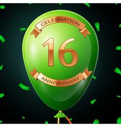 Green balloon with golden inscription sixteen vector
