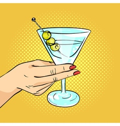 hand drawn pop art of woman hand holding Martini vector image