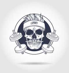 hand drawn sketch angry sport skull vector image