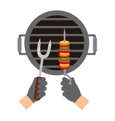 hands with kebab and fork grill barbecue vector image