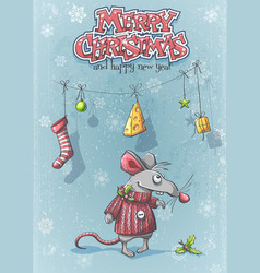 happy new year with a cute cartoon mouse vector image