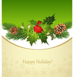 Holiday background tree pine cones holly and f vector