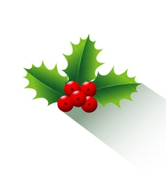Holly Christmas and long shadow vector image