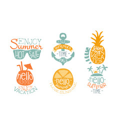 hot summer sale labels set enjoy vacation hello vector image