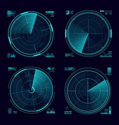 Hud military radar or army sonar blue neon display vector