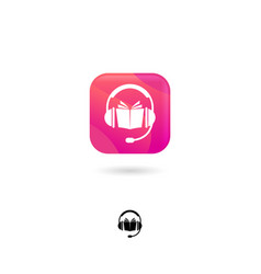 Icon audiobook headphones pink vector