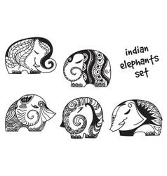 Indian elephants set vector