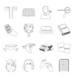 Interpreter and translator set icons in outline vector
