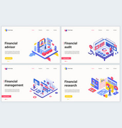 isometric financial management consulting vector image
