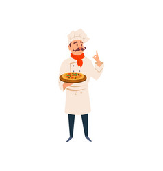 italian chef holding wooden board with traditional vector image