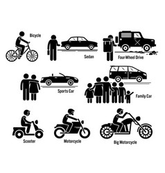 Land personal transport transportation vehicles vector