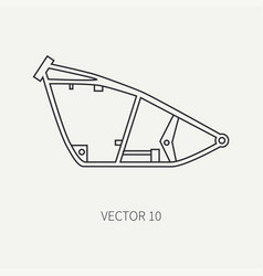 Line flat plain motorcycle icon bike vector