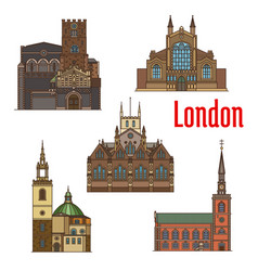 london travel landmark british church icon set vector image