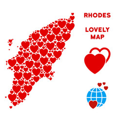 lovely greek rhodes island map collage of vector image