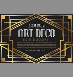 luxury vintage artdeco frame design vector image