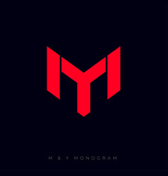 m and y letters linear logo red vector image