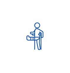 man with broken leggypsum foot crutch line icon vector image