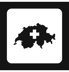 Map of Switzerland icon simple style vector image