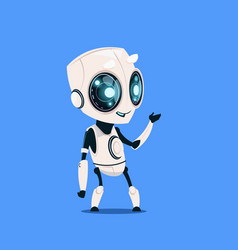 Modern robot isolated on blue background cute vector