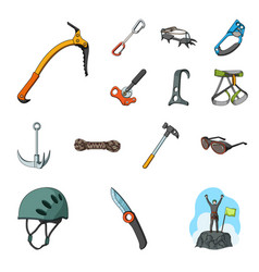 Mountaineering and climbing cartoon icons in set vector