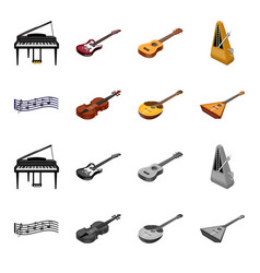 musical instrument cartoonmonochrome icons in set vector image