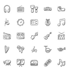 Musical instruments hand-drawn icons vector