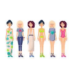 new summer collection of clothing item fashionable vector image