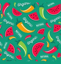 organic fruit and vegetable icon seamless pattern vector image