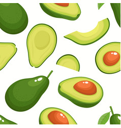pattern with cartoon avocado isolated on vector image