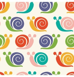 Pattern with colorful snails vector image
