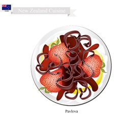 Pavlova Cake With Strawberries New Zealand vector image