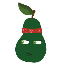 Pear wearing bandana or color vector