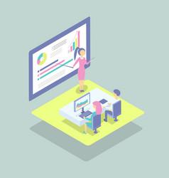 Person presents project at blackboard cartoon icon vector
