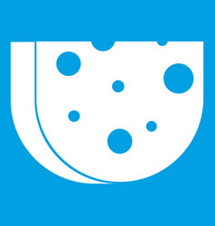 Piece of swiss cheese icon white vector