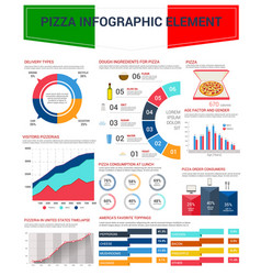 pizza infographic elements for fast food design vector image