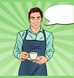 Pop art handsome barista cafe making coffee vector