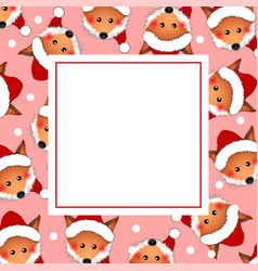 Red fox santa claus on pink christmas banner card vector
