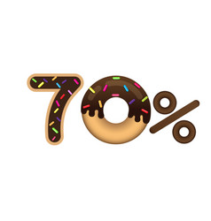 Sale 70 percent and discount price lettering made vector