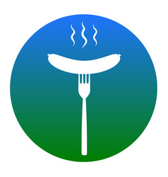 sausage on fork sign white icon in bluish vector image