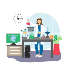 Scientist female character conducting chemistry vector