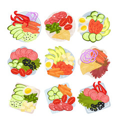 Set dishes with chopped vegetables vector